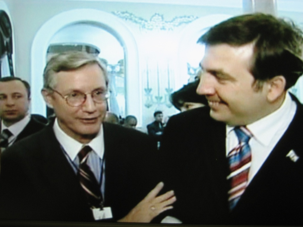 Bruce Jackson und Saakaschwili bei Empfang in Tiflis
